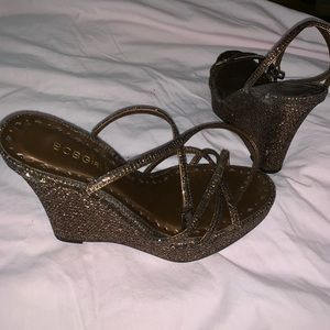 BCBG gold glitter wedges